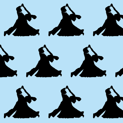 Ballroom Dancers // Blue  fabric by thinlinetextiles on Spoonflower - custom fabric
