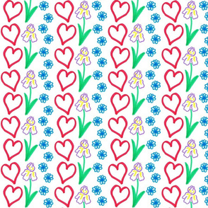 flower and heart stripes