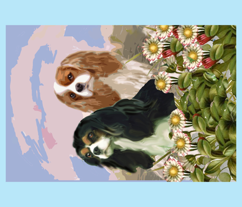 two cavaliers small blanket size fabric by dogdaze_ on Spoonflower - custom fabric