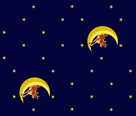 Over the Moon - Jumping Cows  fabric by december_rose on Spoonflower - custom fabric
