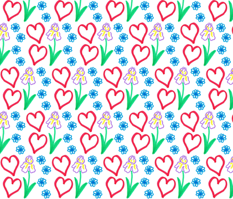 flower and heart  fabric by pamelachi on Spoonflower - custom fabric