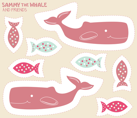 Cut and Sew: Sammy the Whale Pinky fabric - brendazapotosky ...