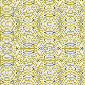 Yellow and White Stripey Geometric