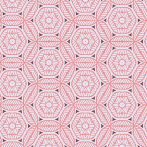 Pink and White Stripey Geometric