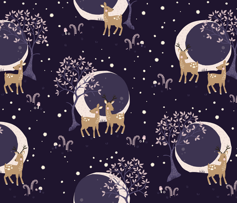 Little Deer // by petite_circus // cute kids baby nursery // fabric by petite_circus on Spoonflower - custom fabric