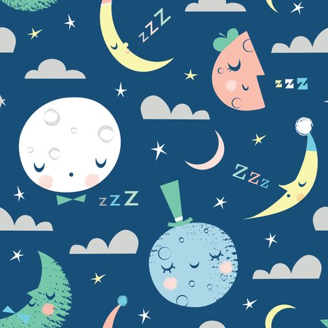 goodnight blue moon fabric by shindigdesignstudio on Spoonflower - custom fabric