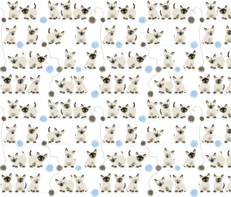 Siamese kittens and yarn balls fabric by chicoinedesign on Spoonflower - custom fabric
