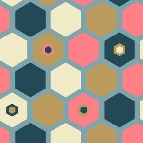 Hexagon Vanilla Strawberry - Blue
