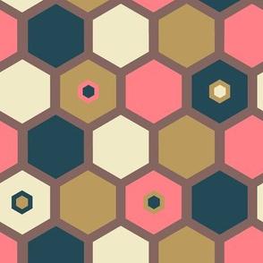 Hexagon Vanilla Strawberry - Sepia