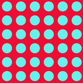 Turquoise and Red Dots