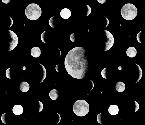 Moon Phases fabric by onelittleprintshop on Spoonflower - custom fabric