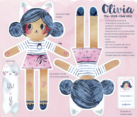 Olivia Kitty Girl Doll - Sew Your Own! fabric by jadefrolics on Spoonflower - custom fabric