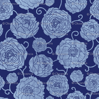 Navy Textile Peony Garden