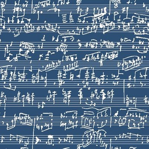 Handwritten Sheet Music on Navy // Small