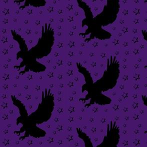 Eagle Flock on Purple with Stars