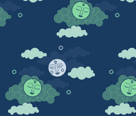 The Two Moons fabric by chris_jorge on Spoonflower - custom fabric