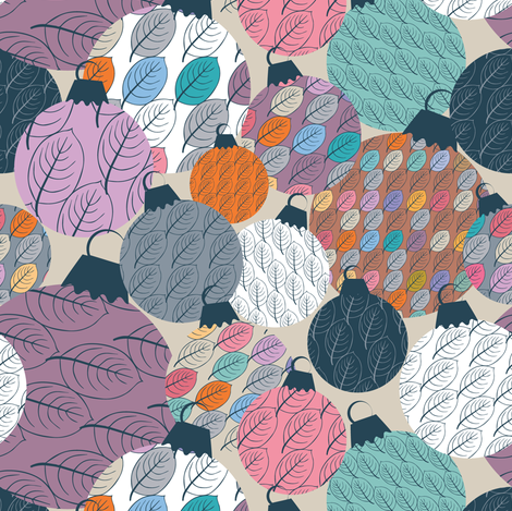 Xmas bowls and leaves fabric by leventetladiscorde on Spoonflower - custom fabric