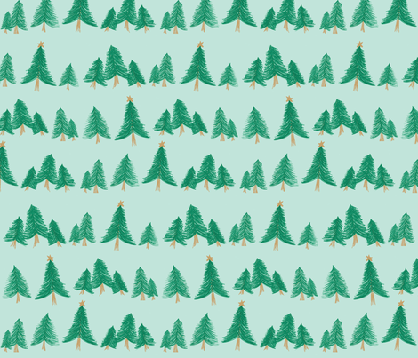 The Perfect Tree on Blue fabric by angiehiller on Spoonflower - custom fabric