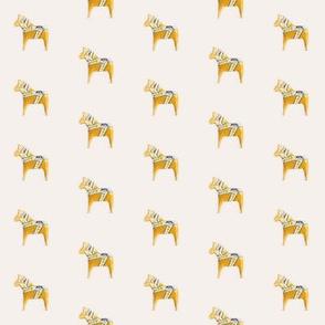 Dala Horse Golden on Cream