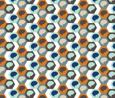Brain | Orange Aqua Brown fabric by handmadephd on Spoonflower - custom fabric