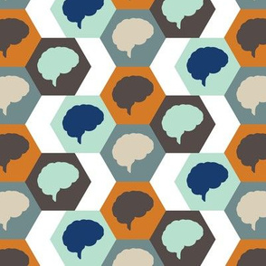 Brain | Orange Aqua Brown