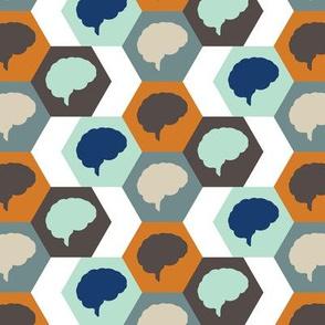 Brain | Orange Aqua Brown
