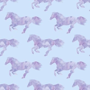 Watercolor Wild Horses in Lilac Haze