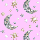 Vintage button moon and stars / pink