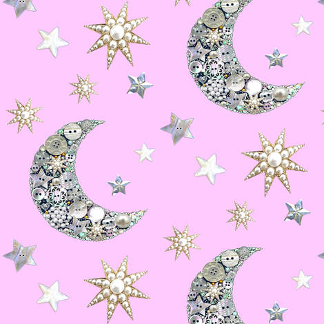 Vintage button moon and stars / pink  fabric by magentarosedesigns on Spoonflower - custom fabric