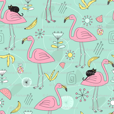 Pink flamingos and black cat