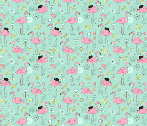 Pink flamingos and black cat fabric by kostolom3000 on Spoonflower - custom fabric