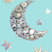 Vintage Button moon & stars