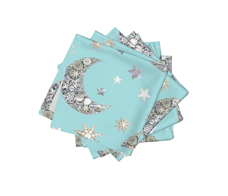 Vintage Button moon & stars pastel blue
