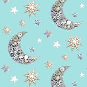 Vintage Button moon & stars pastel blue