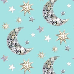 Vintage buttons // stars and moon // vintage