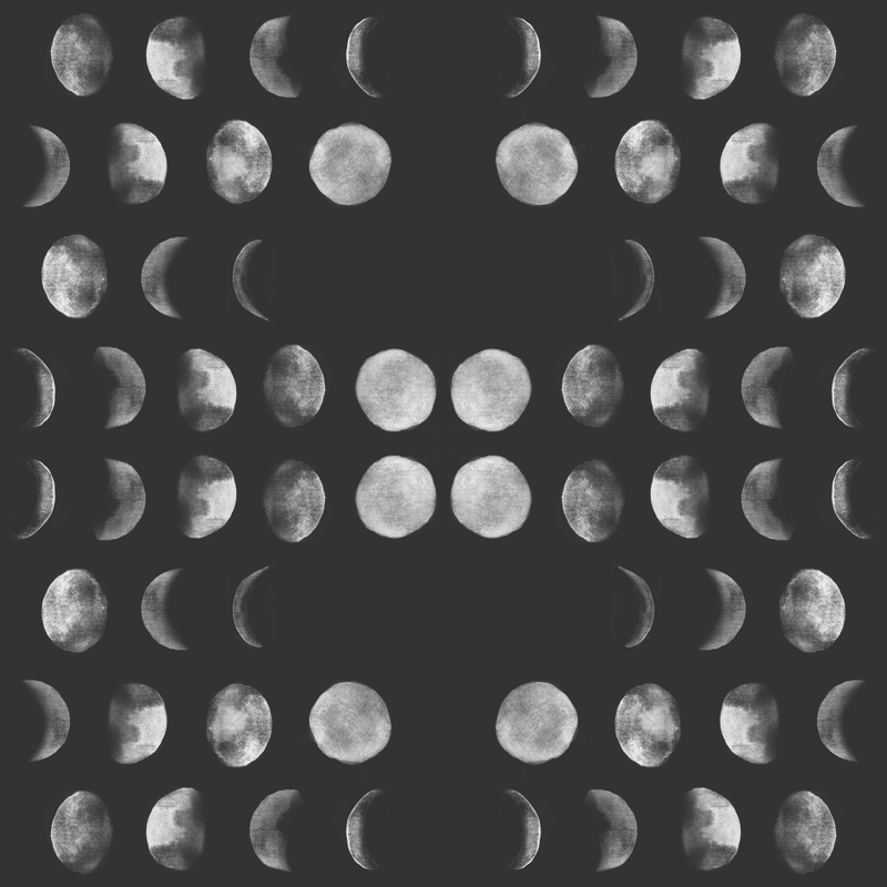 Moon Phase Black And White Abstract Dark Night Sky Geometric Wallpaper