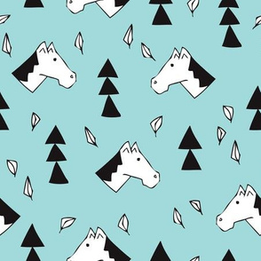 Sweet geometric horses cute animal drawing with triangles and little cowboy feathers in baby blue black and white
