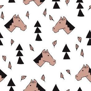Sweet geometric horses cute animal drawing with triangles and little cowboy feathers in beige black and white