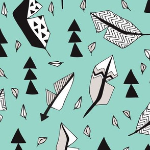 Cool geometric feathers and arrows abstract triangle hand drawn illustration scandinavian style in mint blue black and white