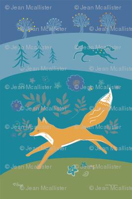Fox and Horse Tea Towel