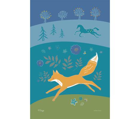 Fox and Horse Tea Towel fabric by jean_mcallister on Spoonflower - custom fabric