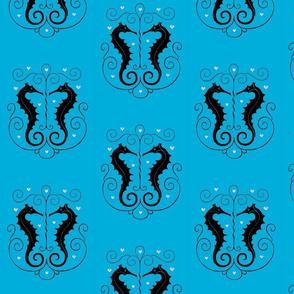 Seahorse Pair Ocean Blue
