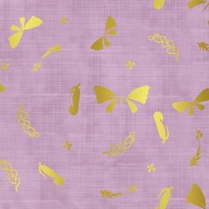 Doux papillons d'or lavande