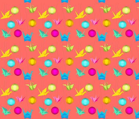 origami_orange fabric by un_temps_de_coton on Spoonflower - custom fabric