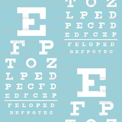 mini vision chart, white on sky blue
