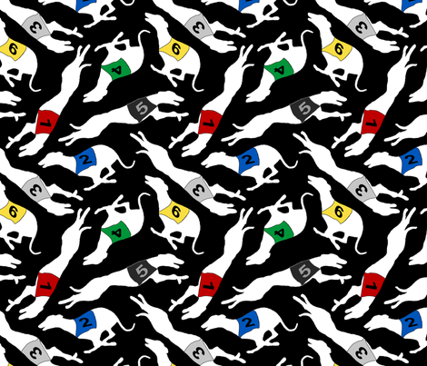 Coursing Whippets - white on black fabric by rusticcorgi on Spoonflower - custom fabric