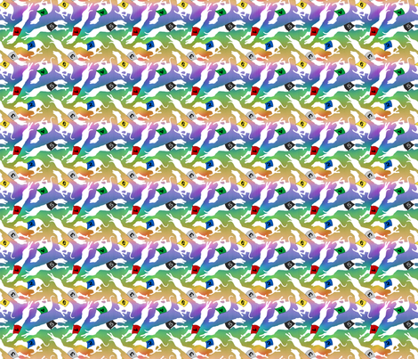 Coursing Whippets - rainbow tiny fabric by rusticcorgi on Spoonflower - custom fabric