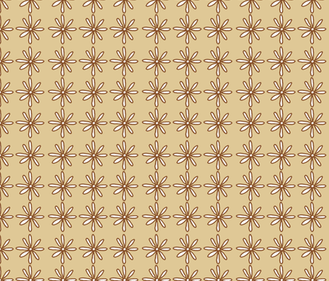 Brown/Tan Scribble Daisy pattern fabric by dreamoutloudart on Spoonflower - custom fabric