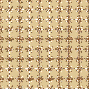 Brown/Tan Scribble Daisy pattern
