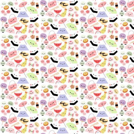 Happy Japan Friends - Mini fabric by clayvision on Spoonflower - custom fabric
